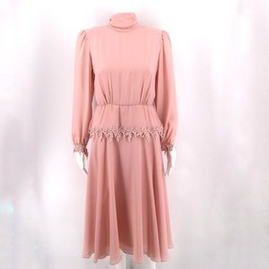 VTG URSULA OF SWITZERLAND Dress 4P Pink Lace Retro